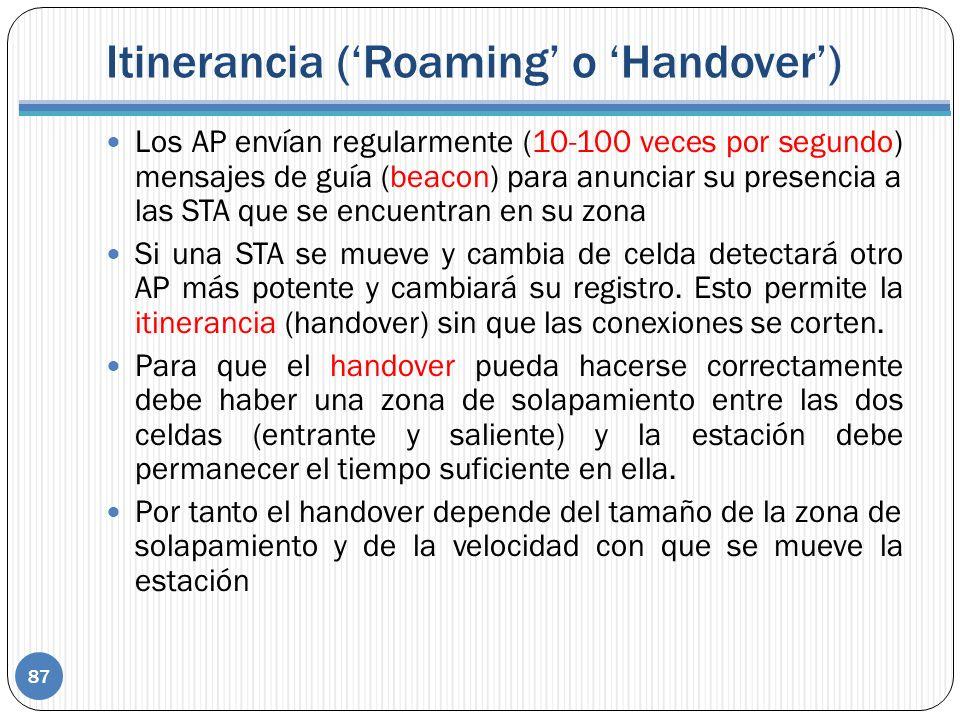 Itinerancia (Roaming o Handover) 87 Los AP envían regularmente (10-100 veces por segundo) mensajes de guía (beacon) para anunciar su presencia a las STA que se encuentran en su zona Si una STA se mueve y cambia de celda detectará otro AP más potente y cambiará su registro.