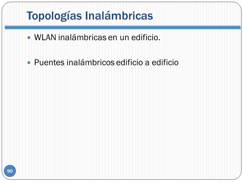 Topologías Inalámbricas 90 WLAN inalámbricas en un edificio. Puentes inalámbricos edificio a edificio