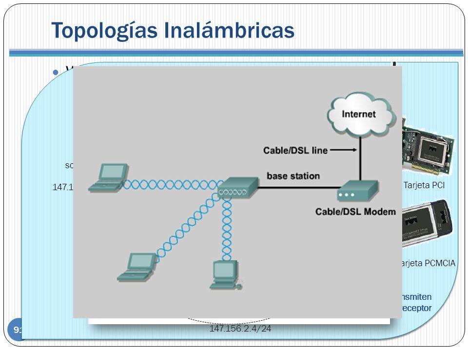 Topologías Inalámbricas 91 WLAN inalámbricas en un edificio. Ad hoc Stand Alone ESS con BSS de distintos canales ESS con BSS repetidor. Mismo canal AP