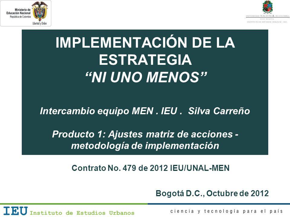 Reunión 3 MEN – IEU – Silva Carreño Agenda 1.Informe de actividades 2.Conclusiones del análisis 3.Matriz de acciones: replanteamiento general de la estrategia 4.Proceso de gestión 5.Acuerdos