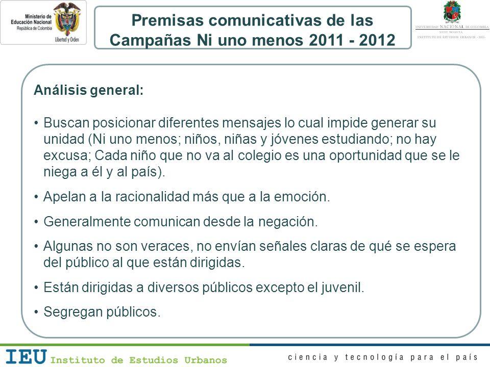 Premisas comunicativas de las Campañas Ni uno menos 2011 - 2012 Análisis general: Buscan posicionar diferentes mensajes lo cual impide generar su unid