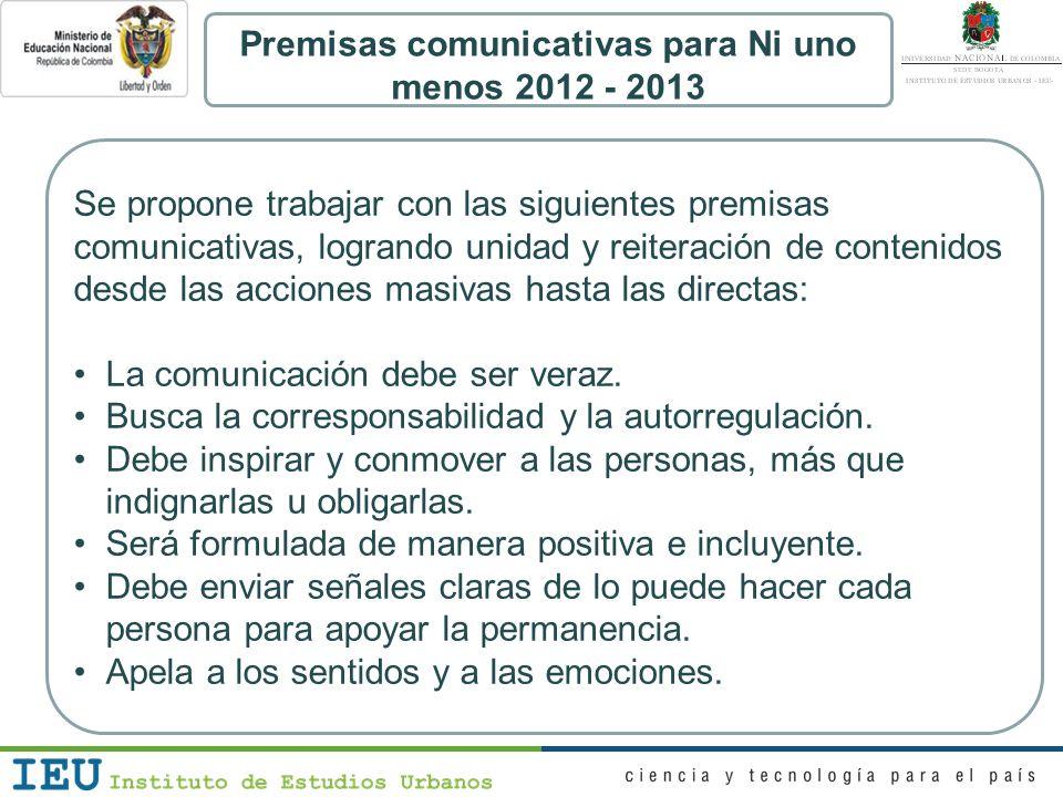 Premisas comunicativas para Ni uno menos 2012 - 2013 Se propone trabajar con las siguientes premisas comunicativas, logrando unidad y reiteración de c