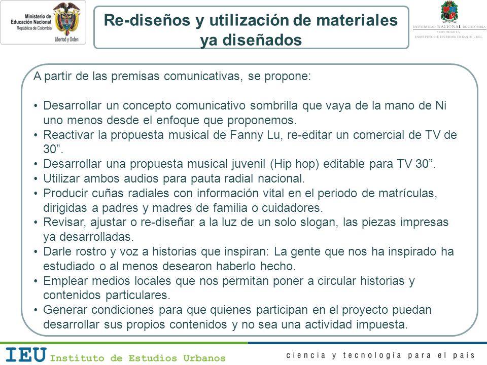 Re-diseños y utilización de materiales ya diseñados A partir de las premisas comunicativas, se propone: Desarrollar un concepto comunicativo sombrilla