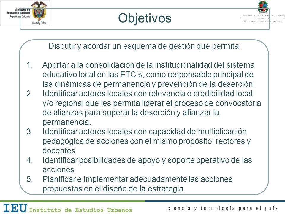Objetivos Discutir y acordar un esquema de gestión que permita: 1.Aportar a la consolidación de la institucionalidad del sistema educativo local en la