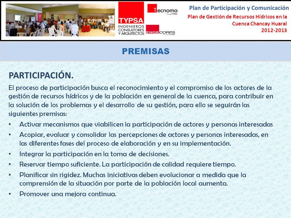 Formulación del Plan Participativo de Gestión de Recursos Hídricos en la Cuenca Chancay-Lambayeque 2012-2013 PREMISAS PARTICIPACIÓN. El proceso de par