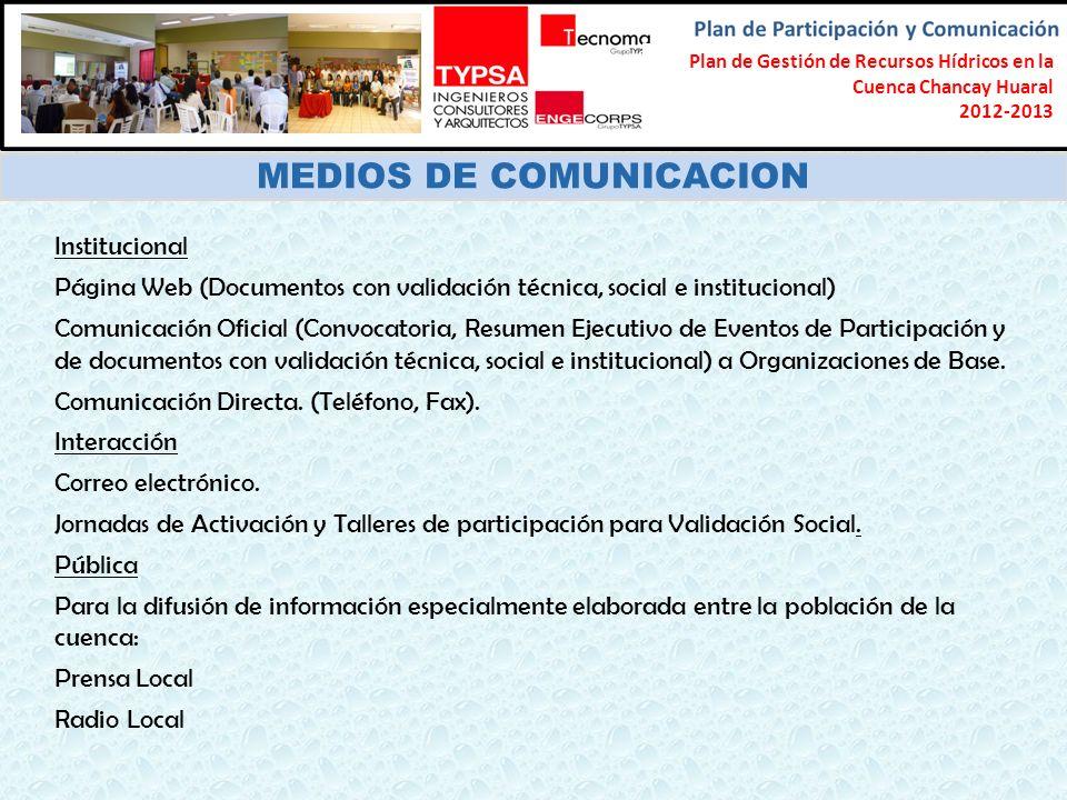 Formulación del Plan Participativo de Gestión de Recursos Hídricos en la Cuenca Chancay-Lambayeque 2012-2013 MEDIOS DE COMUNICACION Institucional Pági