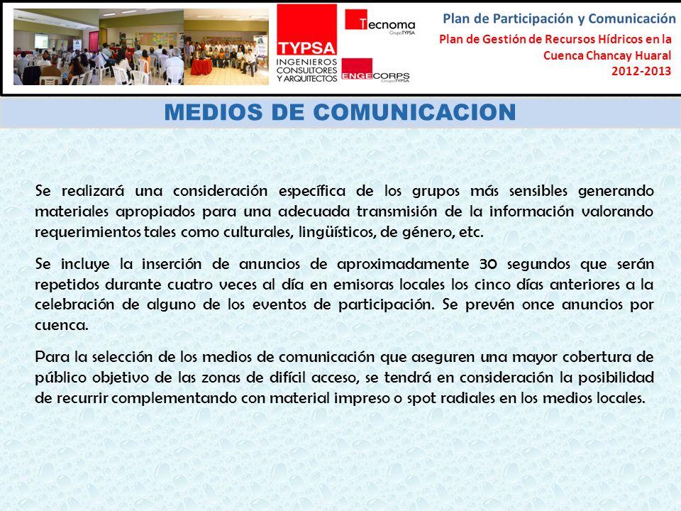 Formulación del Plan Participativo de Gestión de Recursos Hídricos en la Cuenca Chancay-Lambayeque 2012-2013 MEDIOS DE COMUNICACION Se realizará una c