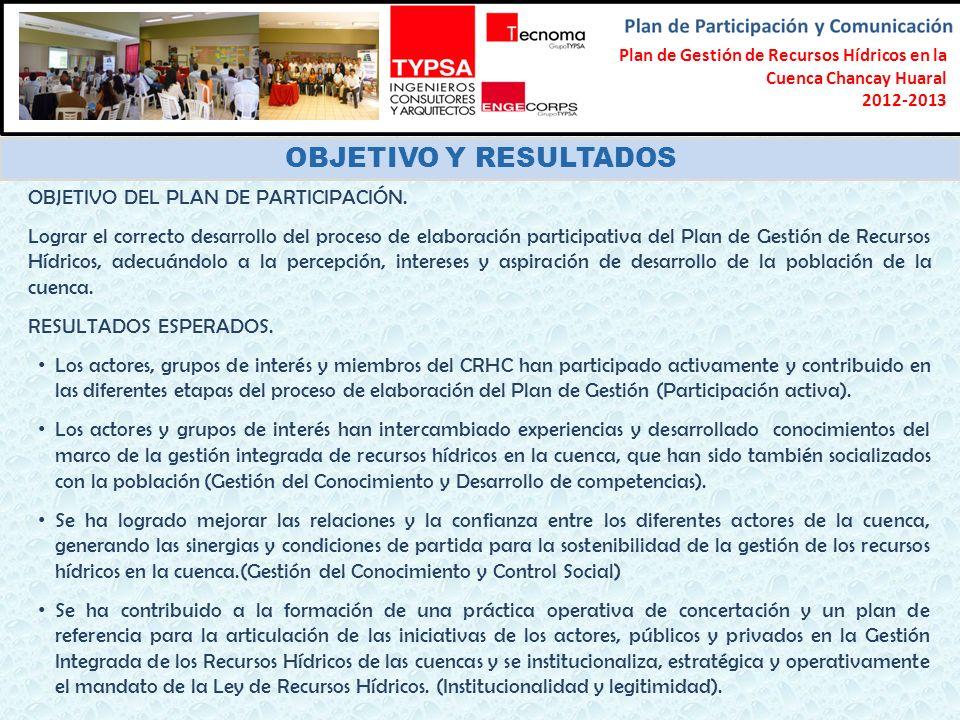 Formulación del Plan Participativo de Gestión de Recursos Hídricos en la Cuenca Chancay-Lambayeque 2012-2013 OBJETIVO Y RESULTADOS OBJETIVO DEL PLAN D