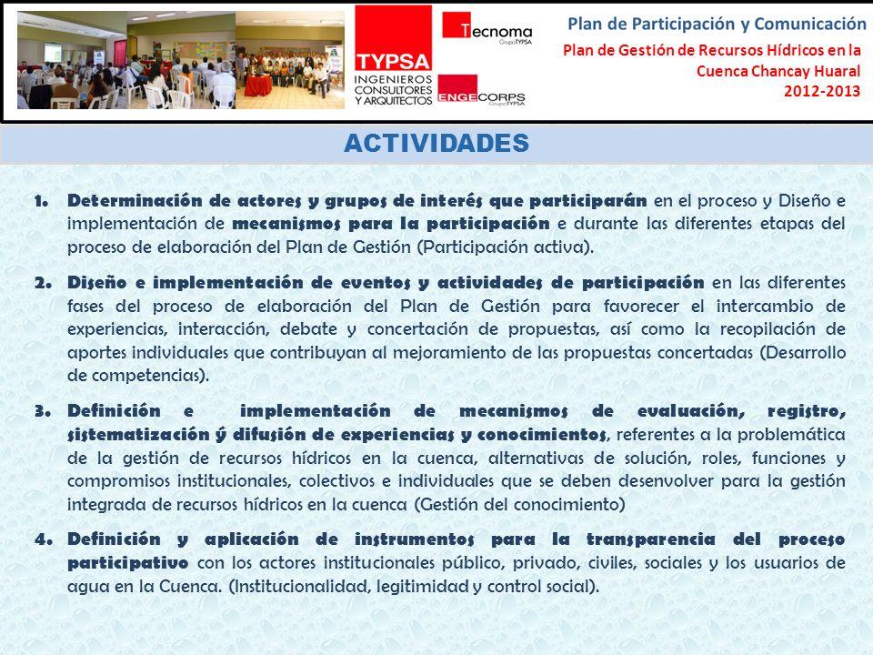 Formulación del Plan Participativo de Gestión de Recursos Hídricos en la Cuenca Chancay-Lambayeque 2012-2013 ACTIVIDADES 1. Determinación de actores y