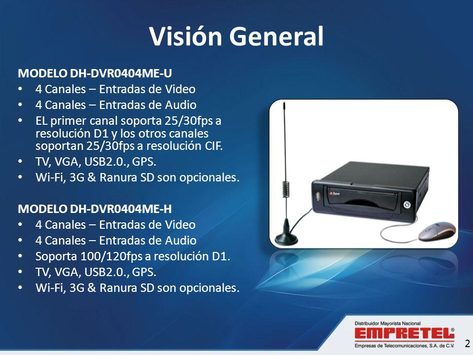 Visión General MODELO DH-DVR0404ME-U 4 Canales – Entradas de Video 4 Canales – Entradas de Audio EL primer canal soporta 25/30fps a resolución D1 y lo