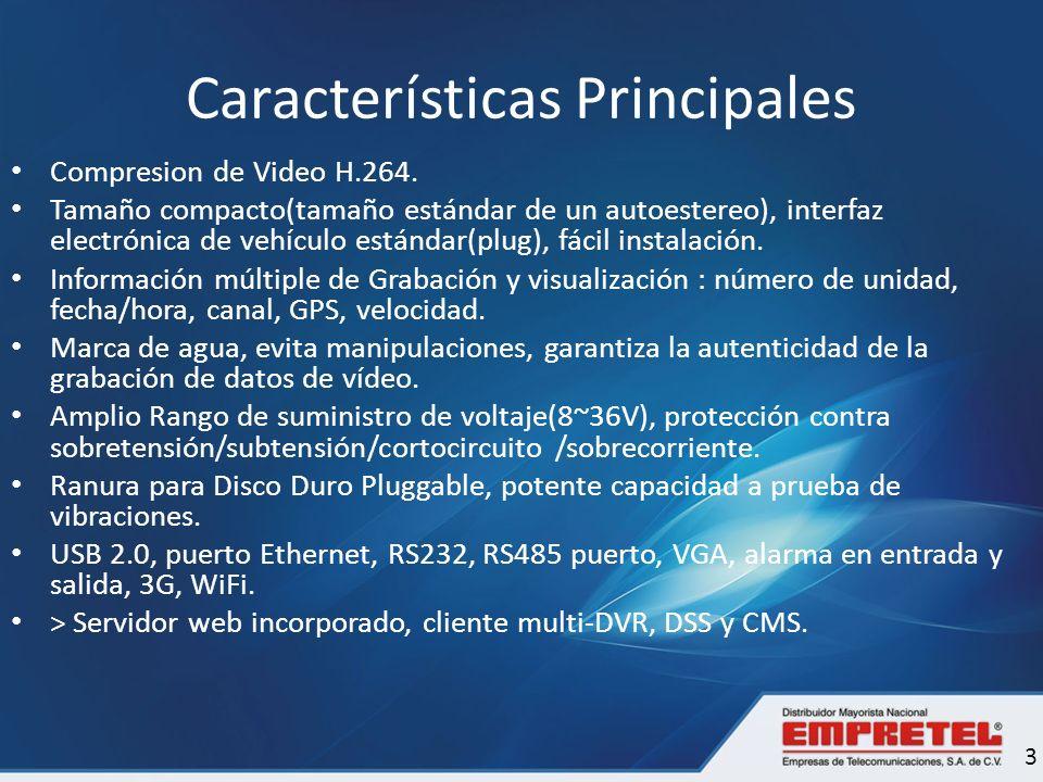 Características Principales Compresion de Video H.264. Tamaño compacto(tamaño estándar de un autoestereo), interfaz electrónica de vehículo estándar(p