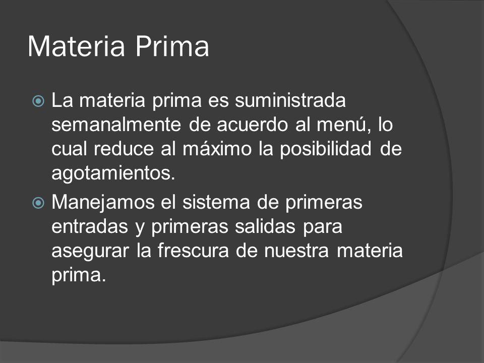 Materia Prima La materia prima es suministrada semanalmente de acuerdo al menú, lo cual reduce al máximo la posibilidad de agotamientos. Manejamos el