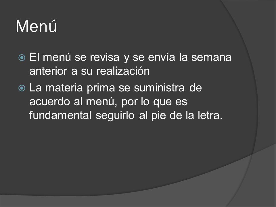 Menú El menú se revisa y se envía la semana anterior a su realización La materia prima se suministra de acuerdo al menú, por lo que es fundamental seg