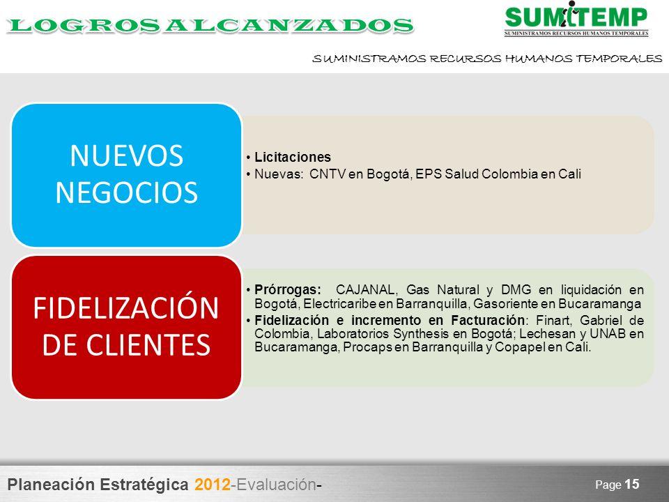 Planeación Estratégica 2012-Evaluación- SUMINISTRAMOS RECURSOS HUMANOS TEMPORALES Page 15 Licitaciones Nuevas: CNTV en Bogotá, EPS Salud Colombia en C