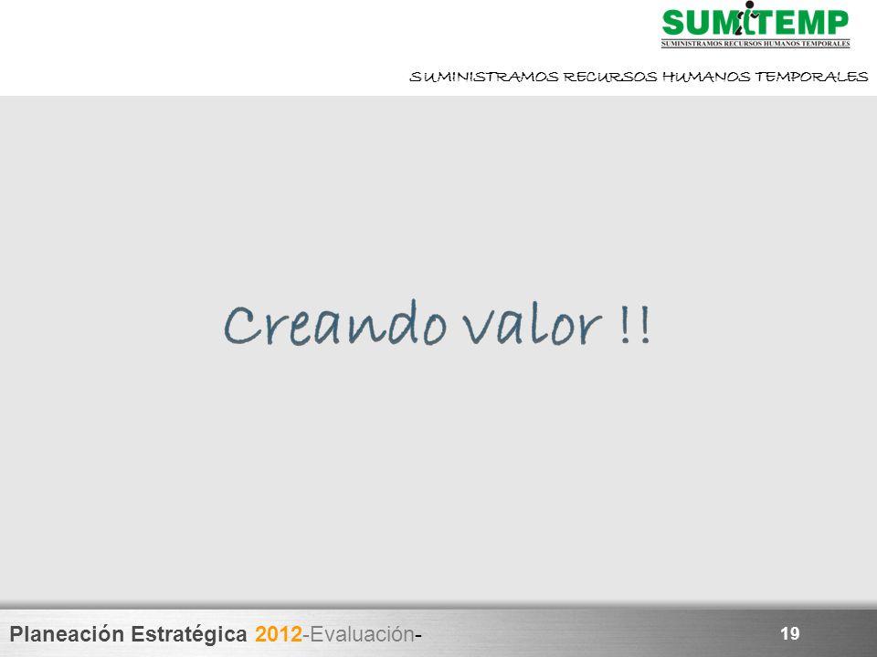 Planeación Estratégica 2012-Evaluación- SUMINISTRAMOS RECURSOS HUMANOS TEMPORALES 19