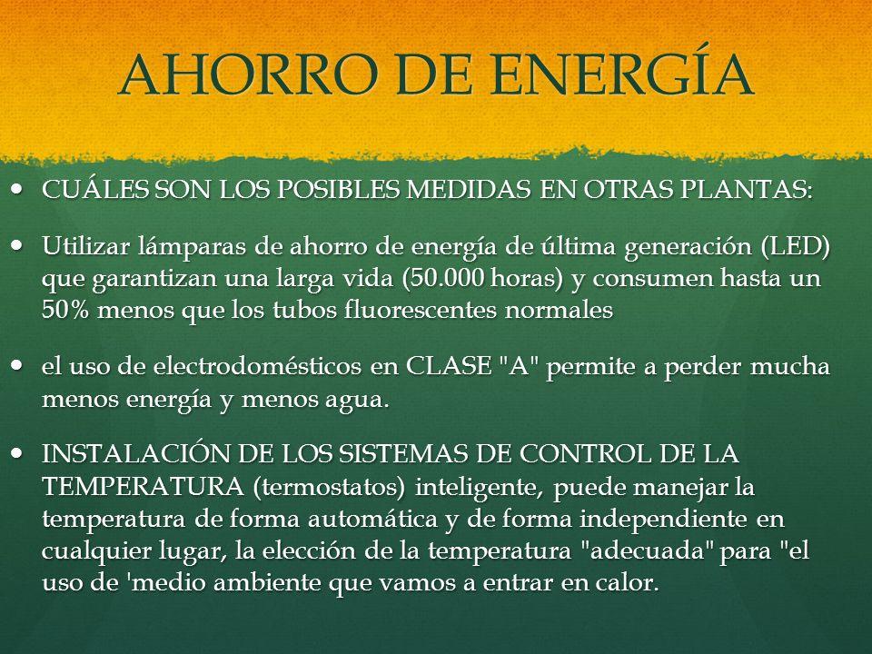 AHORRO DE ENERGÍA CUÁLES SON LOS POSIBLES MEDIDAS EN OTRAS PLANTAS: CUÁLES SON LOS POSIBLES MEDIDAS EN OTRAS PLANTAS: Utilizar lámparas de ahorro de e