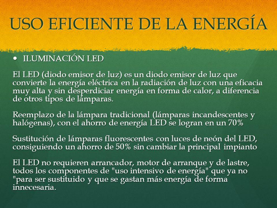 USO EFICIENTE DE LA ENERGÍA ILUMINACIÓN LED ILUMINACIÓN LED El LED (diodo emisor de luz) es un diodo emisor de luz que convierte la energía eléctrica