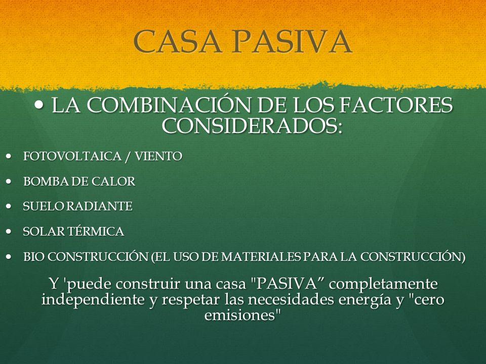 CASA PASIVA LA COMBINACIÓN DE LOS FACTORES CONSIDERADOS: LA COMBINACIÓN DE LOS FACTORES CONSIDERADOS: FOTOVOLTAICA / VIENTO FOTOVOLTAICA / VIENTO BOMB