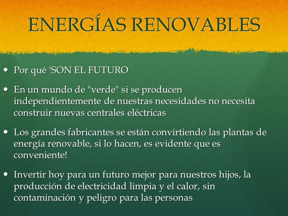 ENERGÍAS RENOVABLES Por qué 'SON EL FUTURO Por qué 'SON EL FUTURO En un mundo de
