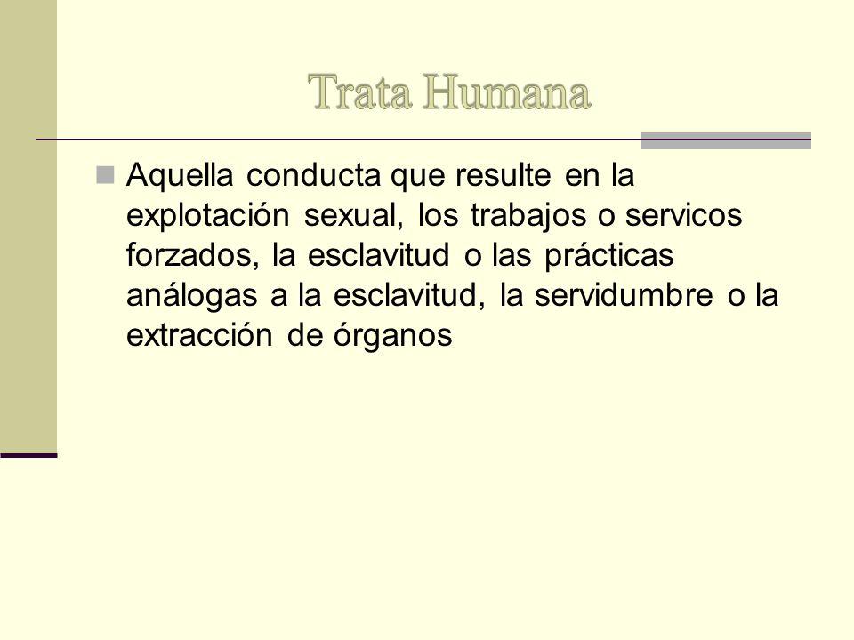 Aquella conducta que resulte en la explotación sexual, los trabajos o servicos forzados, la esclavitud o las prácticas análogas a la esclavitud, la se