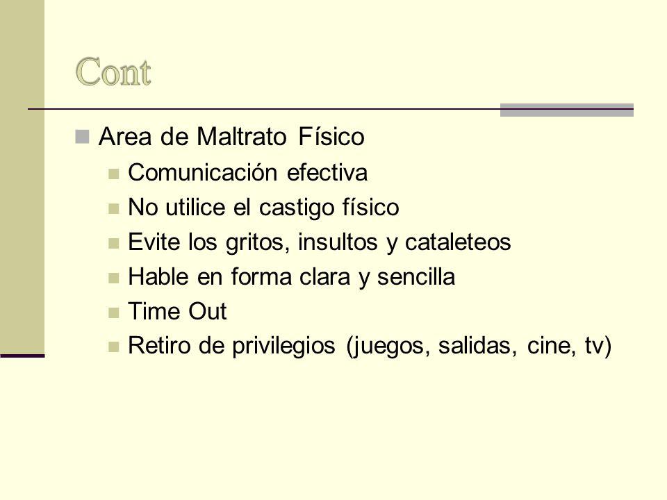 Area de Maltrato Físico Comunicación efectiva No utilice el castigo físico Evite los gritos, insultos y cataleteos Hable en forma clara y sencilla Tim