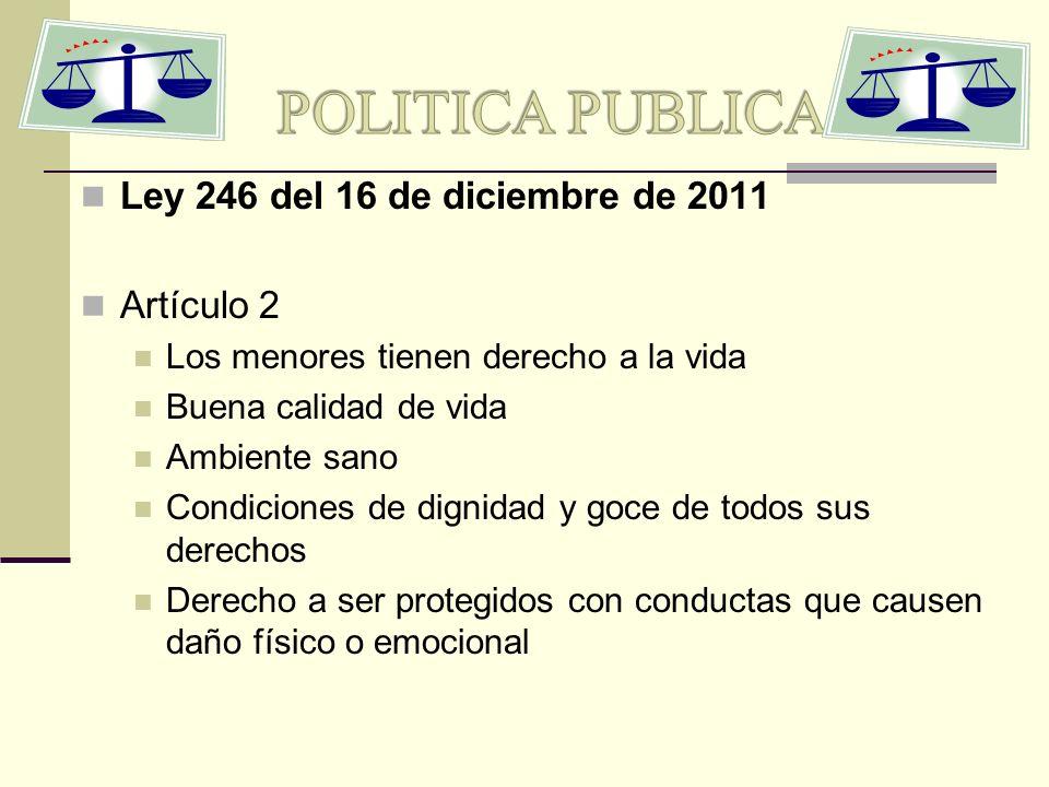 Ley 246 del 16 de diciembre de 2011 Artículo 2 Los menores tienen derecho a la vida Buena calidad de vida Ambiente sano Condiciones de dignidad y goce