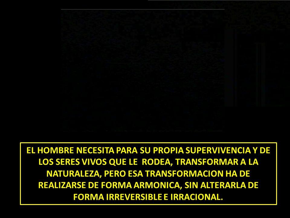 EL HOMBRE NECESITA PARA SU PROPIA SUPERVIVENCIA Y DE LOS SERES VIVOS QUE LE RODEA, TRANSFORMAR A LA NATURALEZA, PERO ESA TRANSFORMACION HA DE REALIZAR