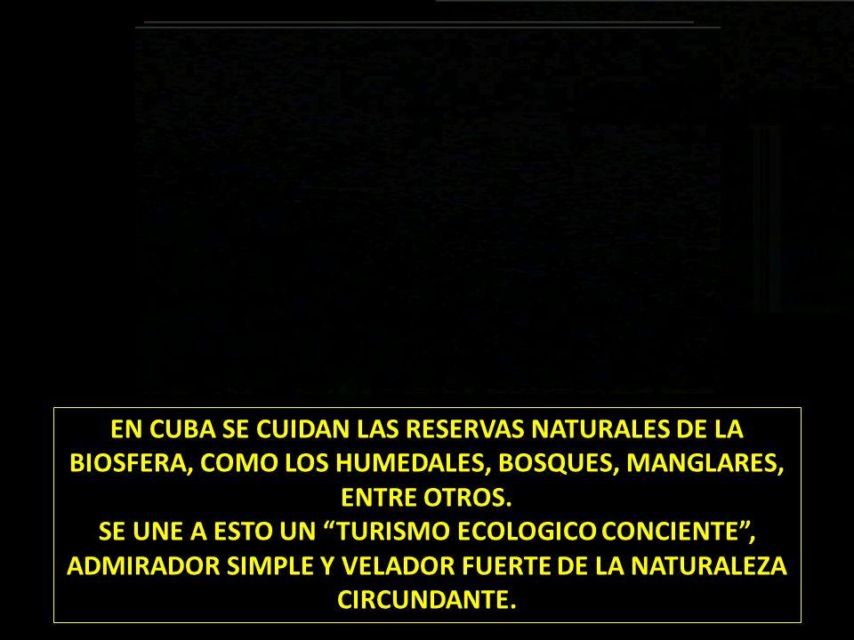 EN CUBA SE CUIDAN LAS RESERVAS NATURALES DE LA BIOSFERA, COMO LOS HUMEDALES, BOSQUES, MANGLARES, ENTRE OTROS. SE UNE A ESTO UN TURISMO ECOLOGICO CONCI