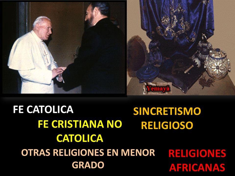 FE CATOLICA FE CRISTIANA NO CATOLICA SINCRETISMO RELIGIOSO RELIGIONES AFRICANAS OTRAS RELIGIONES EN MENOR GRADO