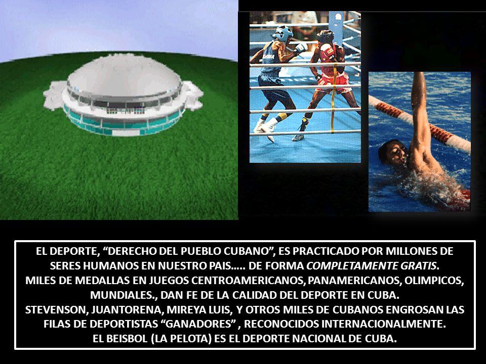 EL DEPORTE, DERECHO DEL PUEBLO CUBANO, ES PRACTICADO POR MILLONES DE SERES HUMANOS EN NUESTRO PAIS….. DE FORMA COMPLETAMENTE GRATIS. MILES DE MEDALLAS