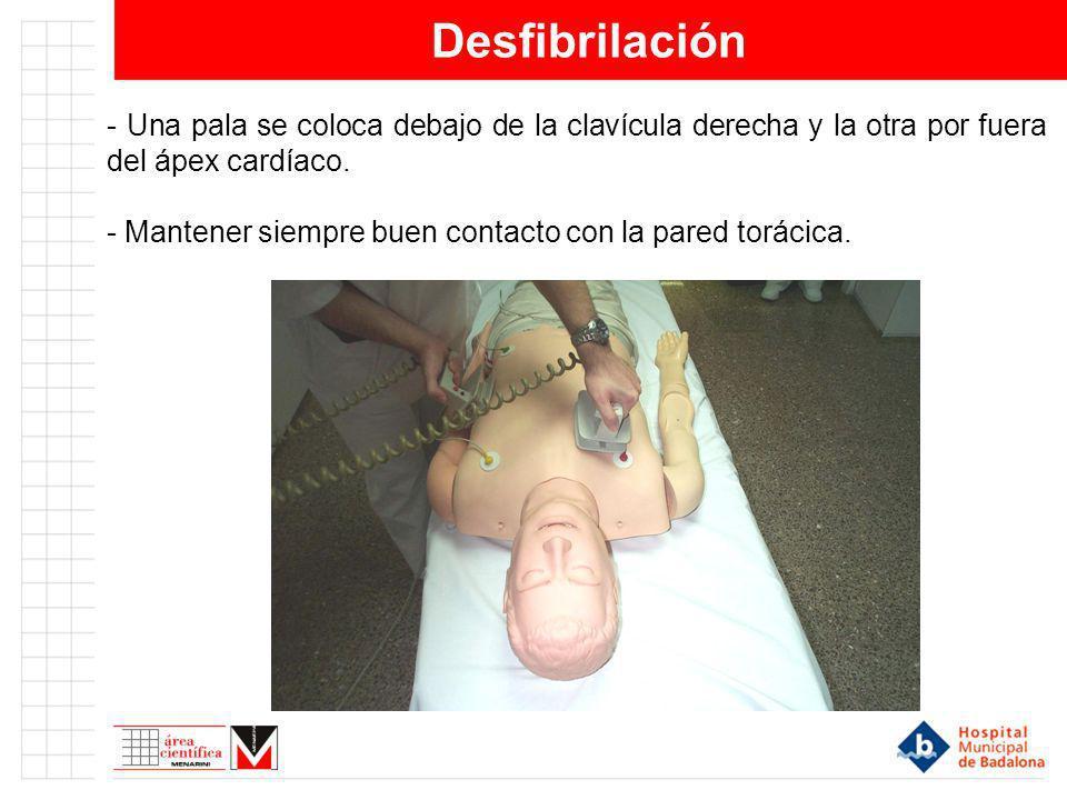 Desfibrilación - Una pala se coloca debajo de la clavícula derecha y la otra por fuera del ápex cardíaco. - Mantener siempre buen contacto con la pare