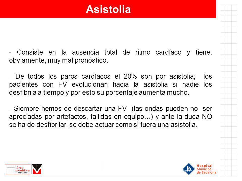 Asistolia - Consiste en la ausencia total de ritmo cardíaco y tiene, obviamente, muy mal pronóstico. - De todos los paros cardíacos el 20% son por asi