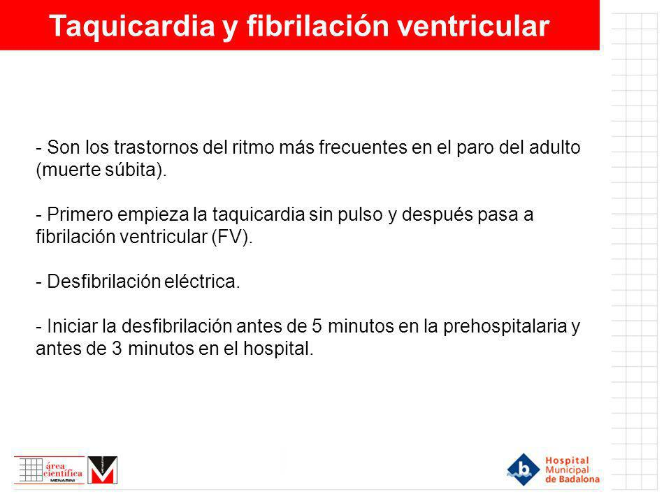 Taquicardia y fibrilación ventricular - Son los trastornos del ritmo más frecuentes en el paro del adulto (muerte súbita). - Primero empieza la taquic