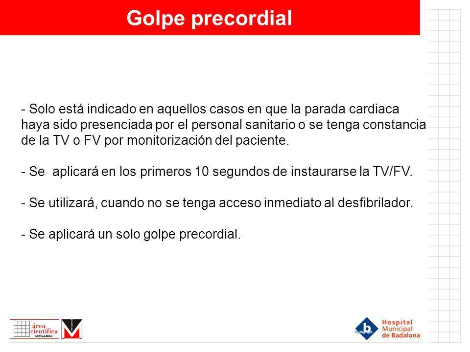 Golpe precordial - Solo está indicado en aquellos casos en que la parada cardiaca haya sido presenciada por el personal sanitario o se tenga constanci