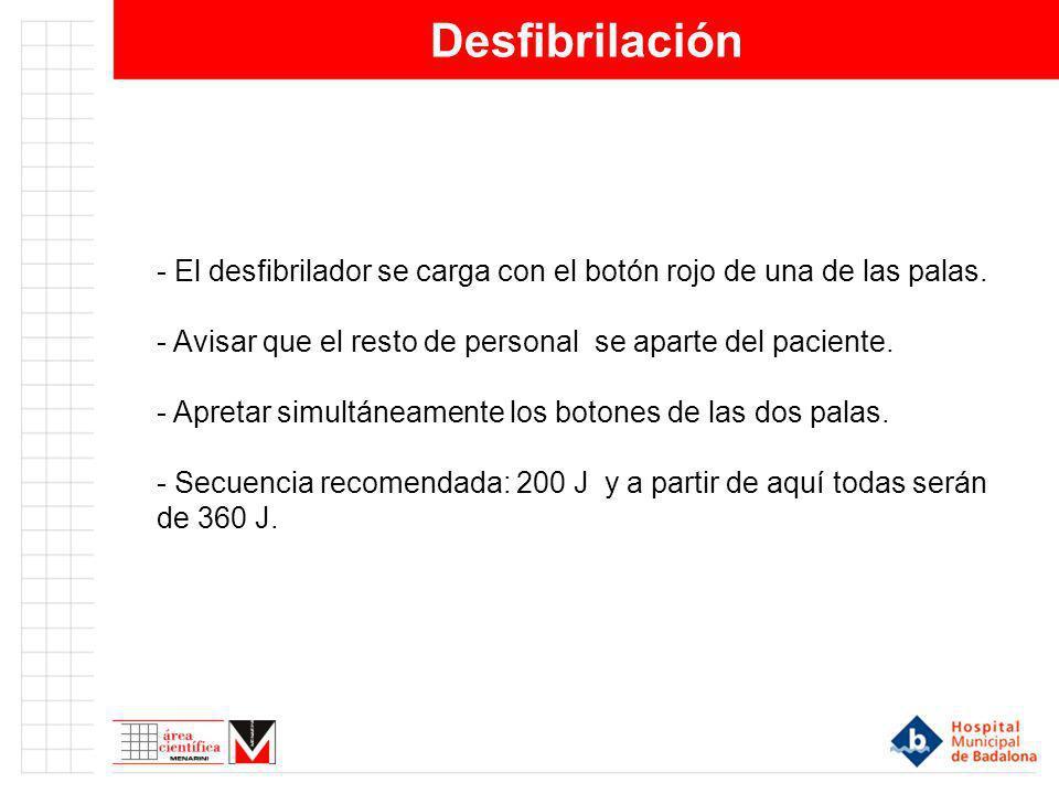 Desfibrilación - El desfibrilador se carga con el botón rojo de una de las palas. - Avisar que el resto de personal se aparte del paciente. - Apretar