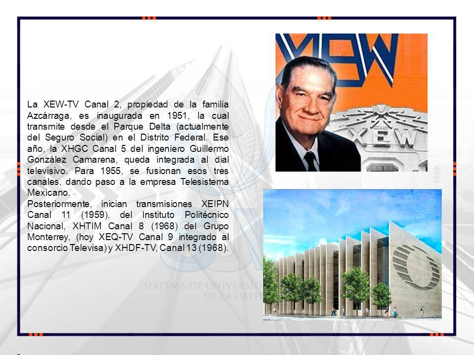 La XEW-TV Canal 2, propiedad de la familia Azcárraga, es inaugurada en 1951, la cual transmite desde el Parque Delta (actualmente del Seguro Social) e