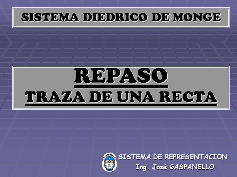 SISTEMA DIEDRICO DE MONGE REPASO TRAZA DE UNA RECTA Ing. José GASPANELLO SISTEMA DE REPRESENTACION