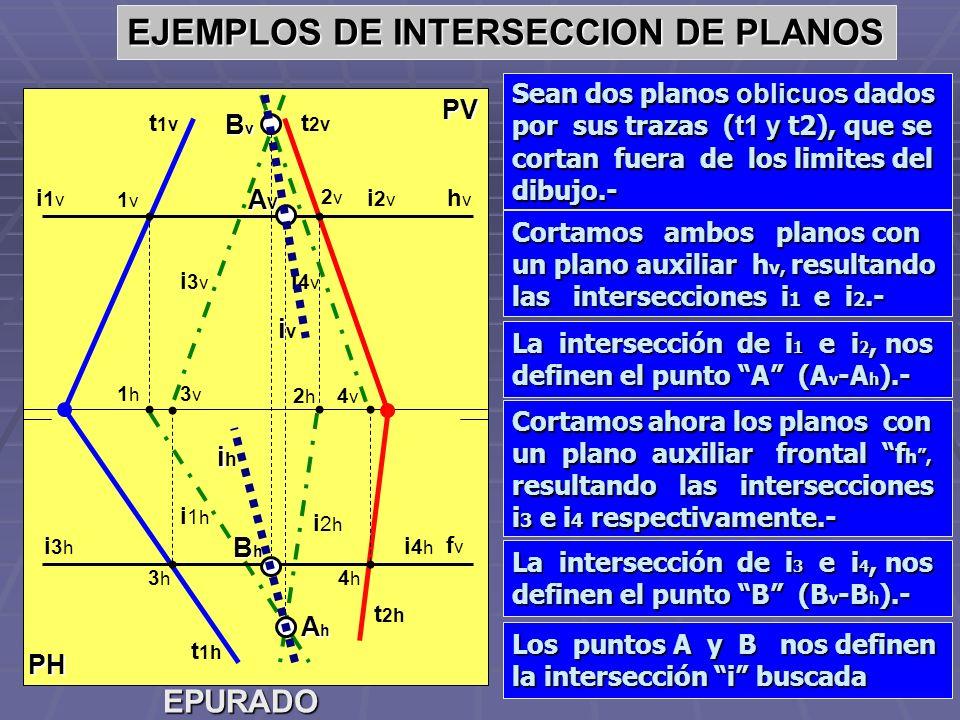 PH PV EJEMPLOS DE INTERSECCION DE PLANOS Sean dos planos oblicuos dados por sus trazas ( t1 y t2), que se cortan fuera de los limites del dibujo.- EPU