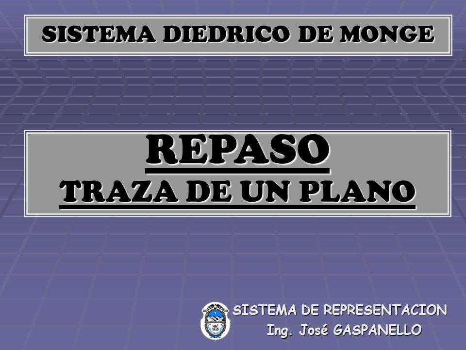SISTEMA DIEDRICO DE MONGE REPASO TRAZA DE UN PLANO Ing. José GASPANELLO SISTEMA DE REPRESENTACION