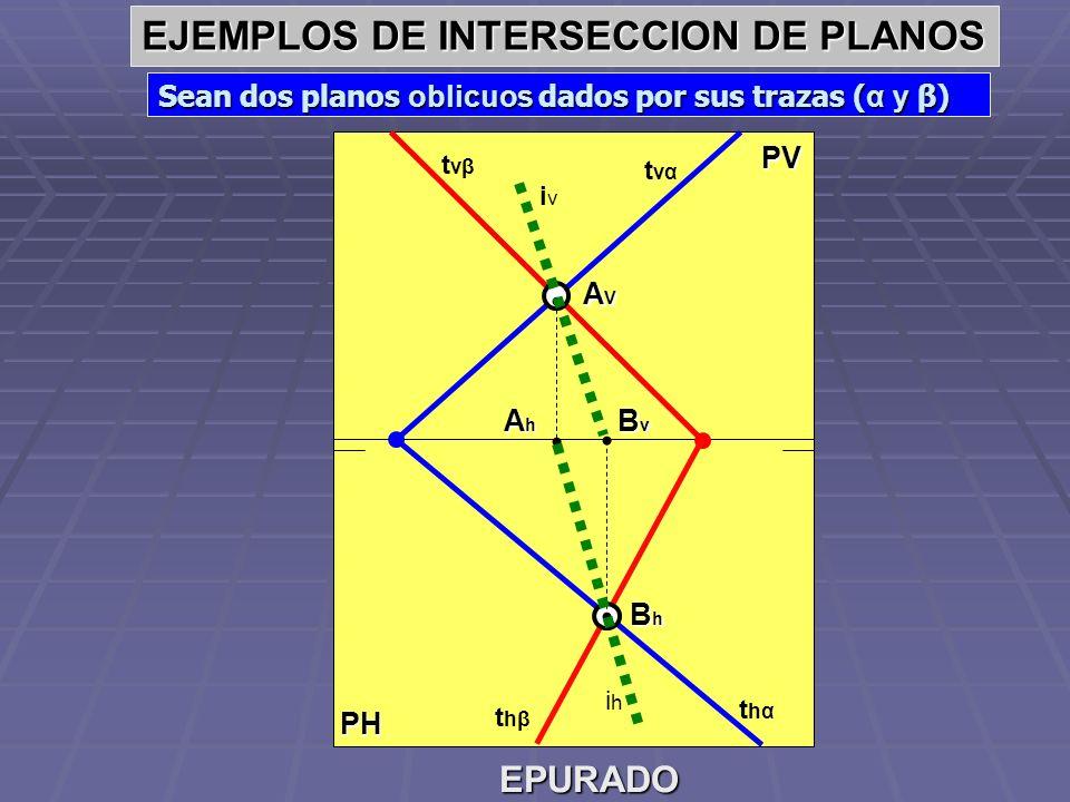PH PV EJEMPLOS DE INTERSECCION DE PLANOS Sean dos planos oblicuos dados por sus trazas ( t1 y t2), que se cortan fuera de los limites del dibujo.- EPURADO t 2v t 2h t 1h t 1v i1hi1h Cortamos ambos planos con un plano auxiliar h v, resultando las intersecciones i 1 e i 2.- hvhv i1vi1v i2vi2v 1v1v 1h1h 2v2v 2h2h i2hi2h AhAhAhAh AVAVAVAV La intersección de i 1 e i 2, nos definen el punto A (A v -A h ).- Cortamos ahora los planos con un plano auxiliar frontal f h, resultando las intersecciones i 3 e i 4 respectivamente.- La intersección de i 3 e i 4, nos definen el punto B (B v -B h ).- fvfv i3hi3h i4hi4h 3h3h 3v3v i3vi3v 4h4h 4v4v i4vi4v BvBvBvBv BhBhBhBh Los puntos A y B nos definen la intersección i buscada iihiih iiviiv