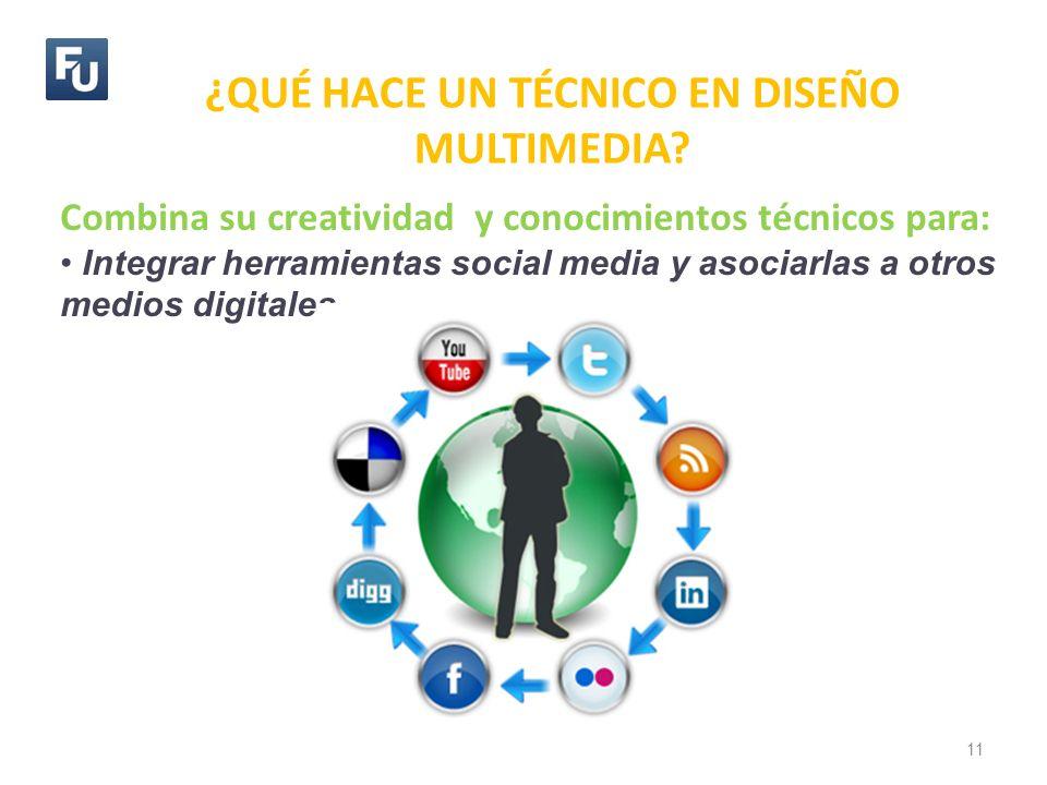 ¿QUÉ HACE UN TÉCNICO EN DISEÑO MULTIMEDIA? 11 Combina su creatividad y conocimientos técnicos para: Integrar herramientas social media y asociarlas a