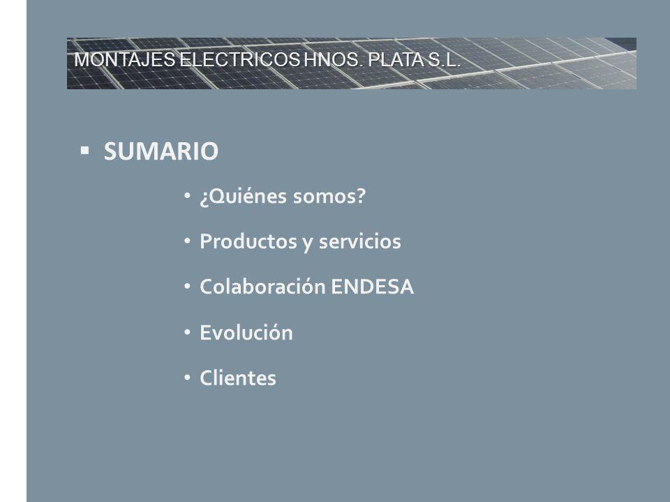 MONTAJES ELECTRICOS HNOS. PLATA S.L. SUMARIO ¿Quiénes somos? Productos y servicios Colaboración ENDESA Evolución Clientes