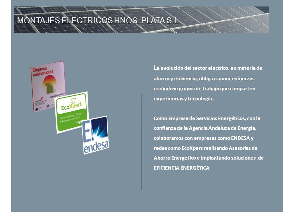 MONTAJES ELECTRICOS HNOS. PLATA S.L. L a evolución del sector eléctrico, en materia de ahorro y eficiencia, obliga a aunar esfuerzos creándose grupos