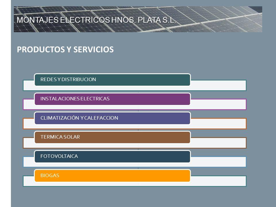 MONTAJES ELECTRICOS HNOS. PLATA S.L. PRODUCTOS Y SERVICIOS REDES Y DISTRIBUCIONINSTALACIONES ELECTRICASCLIMATIZACIÓN Y CALEFACCIONTERMICA SOLARFOTOVOL
