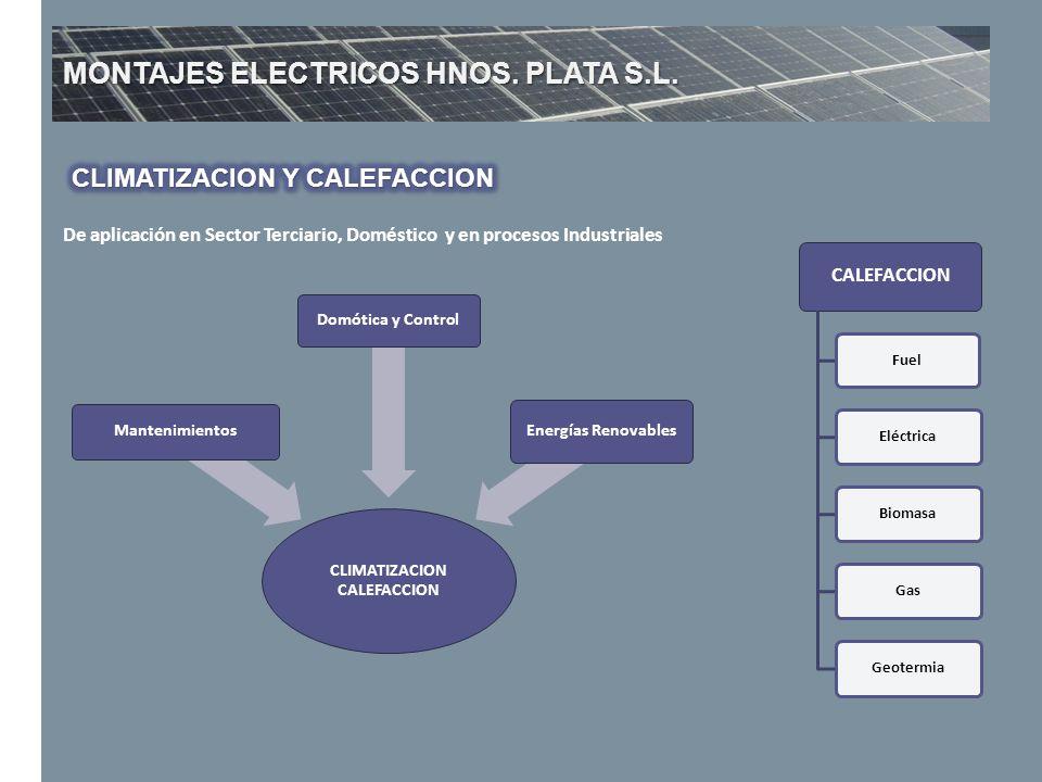 MONTAJES ELECTRICOS HNOS. PLATA S.L. De aplicación en Sector Terciario, Doméstico y en procesos Industriales CALEFACCION Fuel Eléctrica BiomasaGas Geo