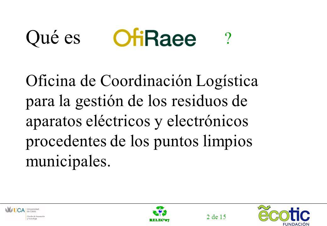 RELEC07 2 de 15 Qué es ? Oficina de Coordinación Logística para la gestión de los residuos de aparatos eléctricos y electrónicos procedentes de los pu