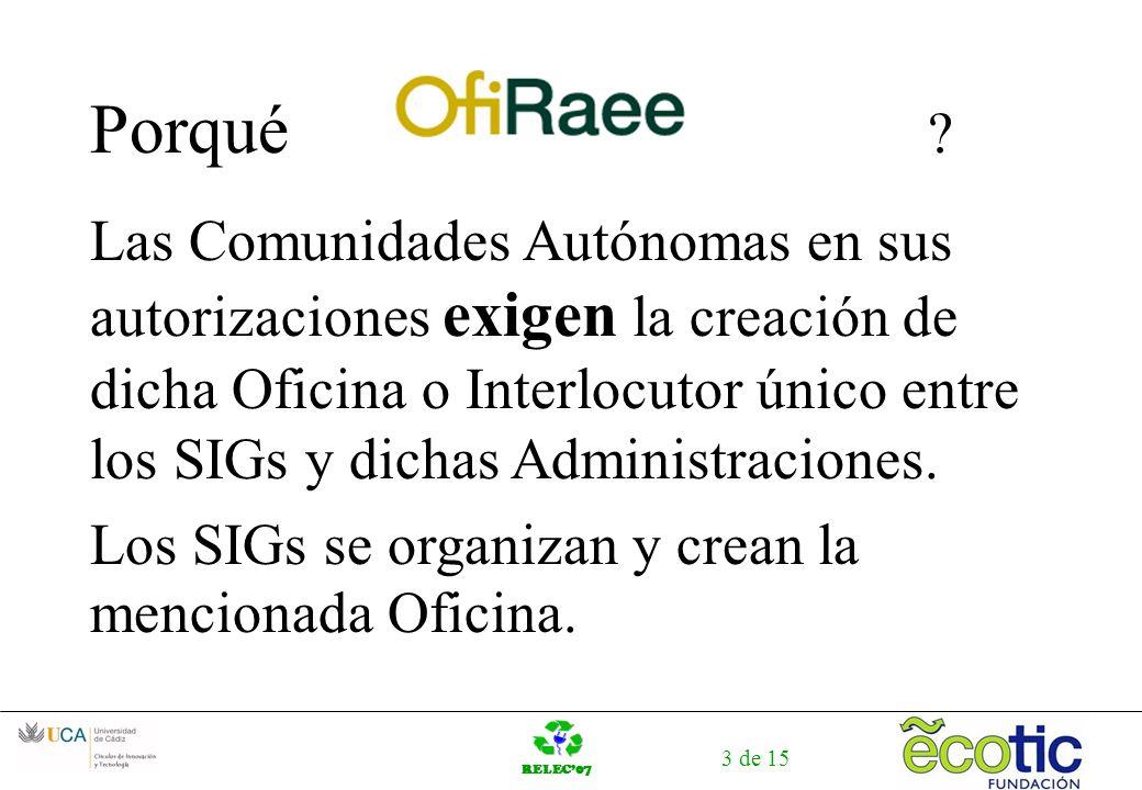RELEC07 3 de 15 Porqué ? Las Comunidades Autónomas en sus autorizaciones exigen la creación de dicha Oficina o Interlocutor único entre los SIGs y dic