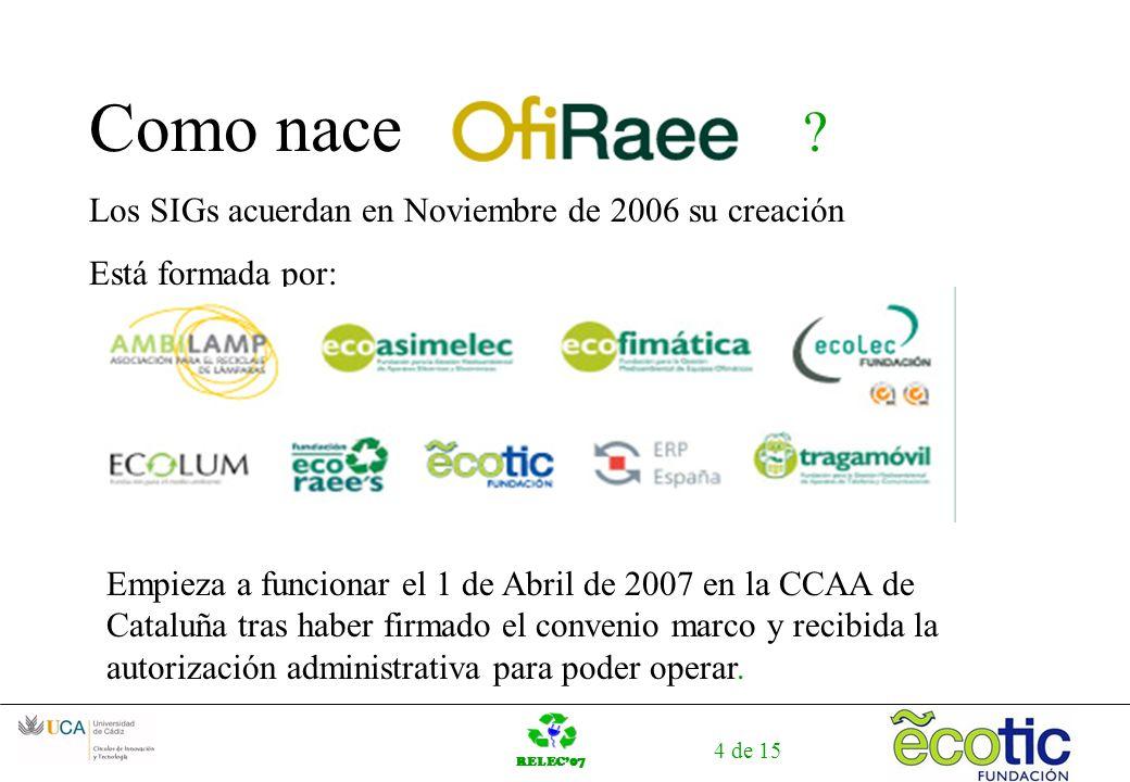 RELEC07 4 de 15 Como nace ? Los SIGs acuerdan en Noviembre de 2006 su creación Está formada por: Empieza a funcionar el 1 de Abril de 2007 en la CCAA