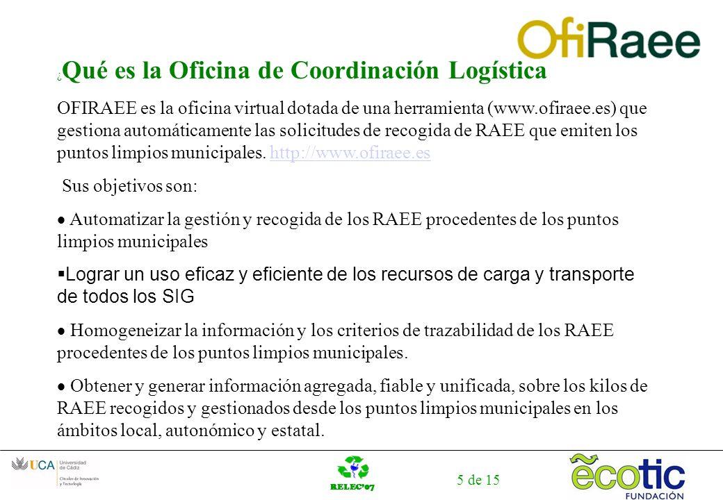 RELEC07 5 de 15 ¿ Qué es la Oficina de Coordinación Logística OFIRAEE es la oficina virtual dotada de una herramienta (www.ofiraee.es) que gestiona automáticamente las solicitudes de recogida de RAEE que emiten los puntos limpios municipales.