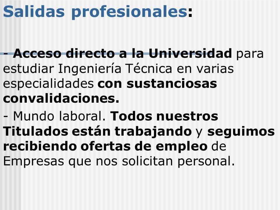 Salidas profesionales: - Acceso directo a la Universidad para estudiar Ingeniería Técnica en varias especialidades con sustanciosas convalidaciones. -